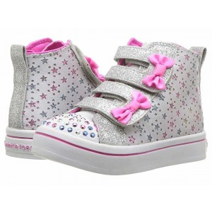 Skechers KIDS Twinkle Lite 20142N (Toddler/Little Kid) Gray/Hot Pink [Sale]