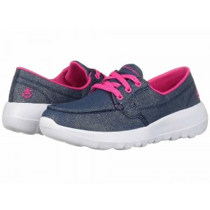 Skechers KIDS Go Walk Joy 81293L (Little Kid/Big Kid) Denim/Hot Pink [Sale]